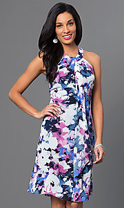Image of short sleeveless floral party dress with front drape. Style: IT-112775 Front Image