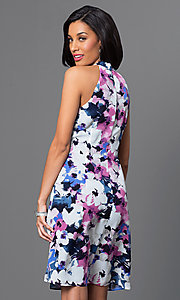 Image of short sleeveless floral party dress with front drape. Style: IT-112775 Back Image