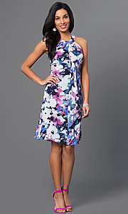 Image of short sleeveless floral party dress with front drape. Style: IT-112775 Detail Image 1