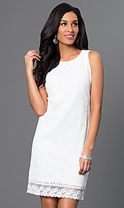 Short Sleeveless Lace Sheath Dress with Back Bows