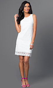 Image of short sleeveless lace sheath dress with back bows. Style: IT-113675 Detail Image 1