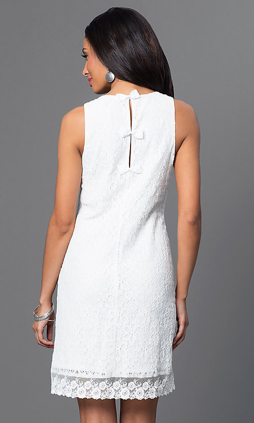 Image of short sleeveless lace sheath dress with back bows. Style: IT-113675 Back Image