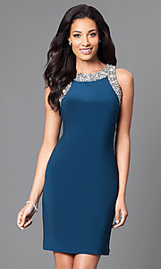 Image of sleeveless short party dress with jewel detailing. Style: IT-113975 Front Image