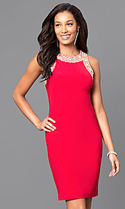 Image of sleeveless short party dress with jewel detailing. Style: IT-113975 Detail Image 2