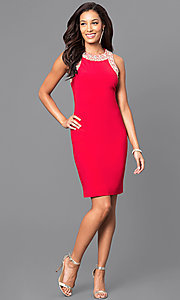 Image of sleeveless short party dress with jewel detailing. Style: IT-113975 Detail Image 3