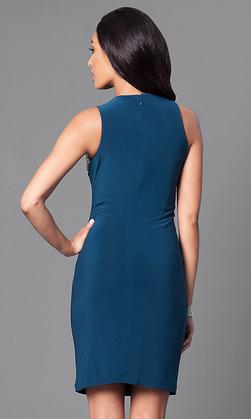 Image of sleeveless short party dress with jewel detailing. Style: IT-113975 Back Image