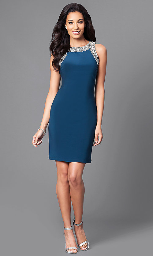 Image of sleeveless short party dress with jewel detailing. Style: IT-113975 Detail Image 1
