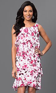 Image of short floral-print tiered dress by Ignite Evenings Style: IT-117945 Front Image