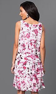 Image of short floral-print tiered dress by Ignite Evenings Style: IT-117945 Back Image
