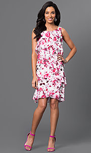 Image of short floral-print tiered dress by Ignite Evenings Style: IT-117945 Detail Image 1