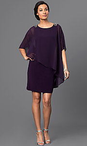 Image of short sheath dress with attached cape.  Style: SD-S275420 Detail Image 1