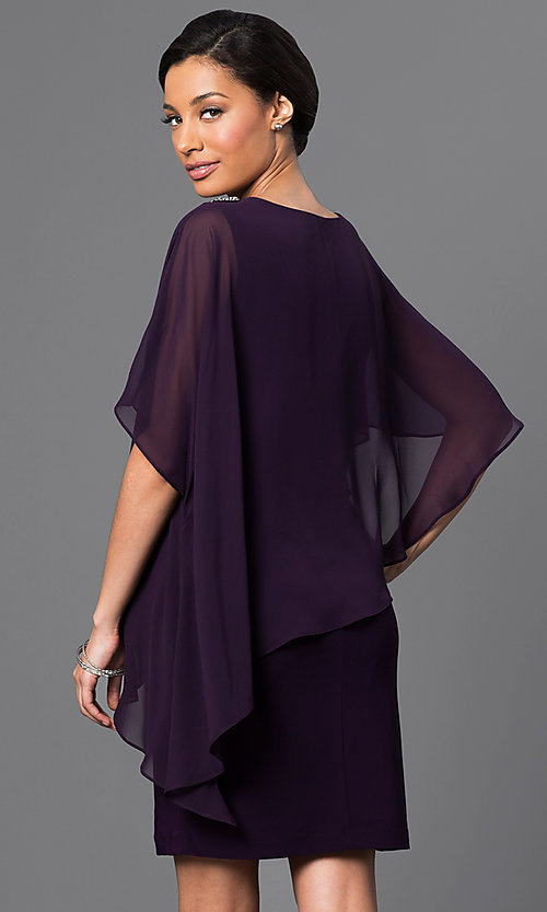 Image of short sheath dress with attached cape.  Style: SD-S275420 Back Image