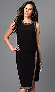 Knee-Length Bead-Accented Black Asymmetrical Dress