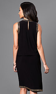 Image of knee-length bead-accented black asymmetrical dress. Style: SD-S275840 Back Image