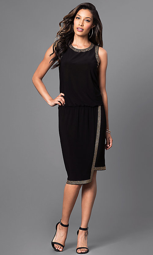 Image of knee-length bead-accented black asymmetrical dress. Style: SD-S275840 Detail Image 1