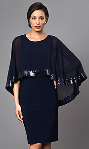 Navy Blue Knee Length Dress with Attached Cape