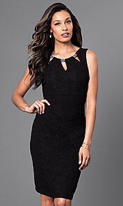 Short Party Dress with Neckline Cut-Outs