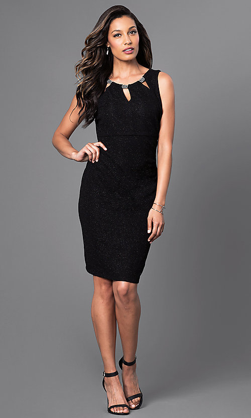 Image of short party dress with neckline cut-outs. Style: SD-S275550 Detail Image 1