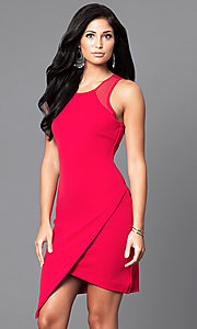 Image of asymmetrical mock-wrap short party dress. Style: AS-i541728E1 Detail Image 3