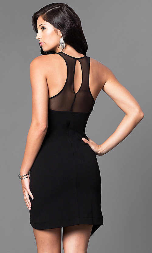 Image of asymmetrical mock-wrap short party dress. Style: AS-i541728E1 Back Image