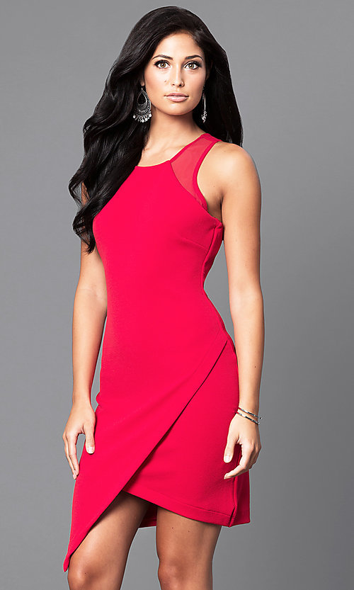 Image of asymmetrical mock-wrap short party dress. Style: AS-i541728E1 Front Image