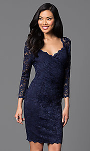 Image of knee-length lace dress with sleeves Style: JU-ON-644971 Front Image