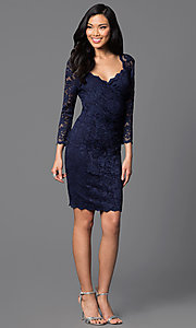 Image of knee-length lace dress with sleeves Style: JU-ON-644971 Detail Image 1
