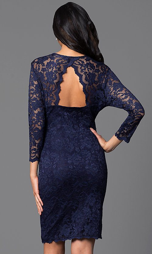 Image of knee-length lace dress with sleeves Style: JU-ON-644971 Back Image