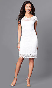 Image of short lace Onyx dress with cap sleeves Style: JU-ON-644987 Detail Image 1