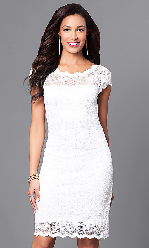 Image of short lace Onyx dress with cap sleeves Style: JU-ON-644987 Front Image