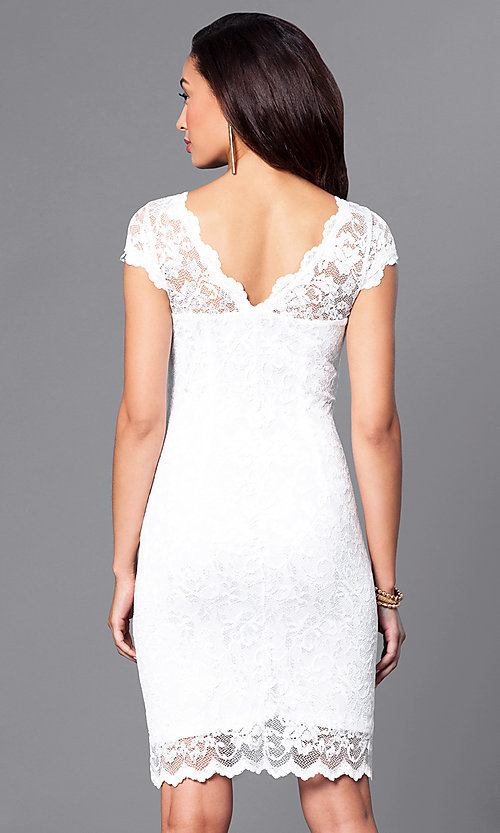 Image of short lace Onyx dress with cap sleeves Style: JU-ON-644987 Back Image