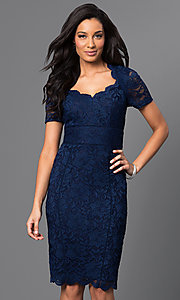 Short Blue Lace Dress with Queen Anne Neckline