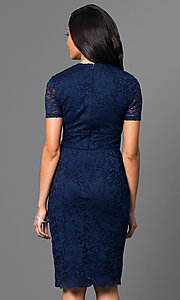 Image of short blue lace dress with Queen Anne neckline Style: SG-ASAORAWS Back Image