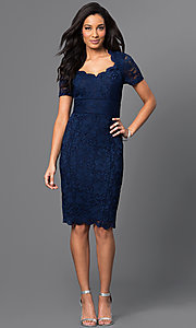Image of short blue lace dress with Queen Anne neckline Style: SG-ASAORAWS Detail Image 1
