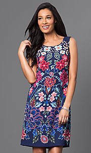 Short Sleeveless Print Shift Dress