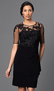 Knee Length Black Dress with Lace Embellished Top