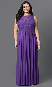 Long Ruched Purple V-Back Prom Dress