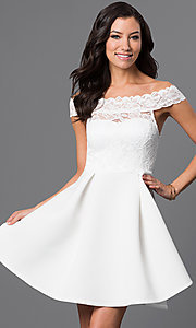 Short Off-the-Shoulder Embroidered Lace Dress