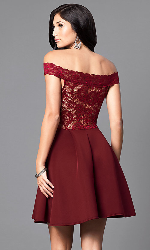 Image of short off-the-shoulder embroidered lace dress. Style: CL-44196 Back Image