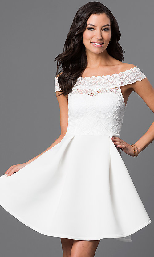 Image of short off-the-shoulder embroidered lace dress. Style: CL-44196 Front Image