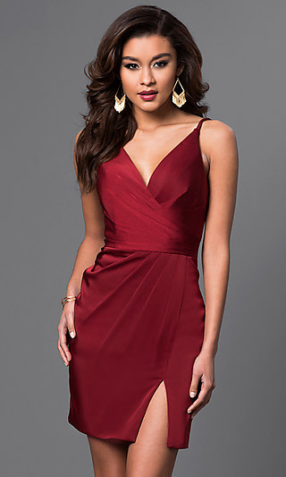Short Spaghetti-Strap Satin Faviana Dress