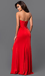 Image of strapless sweetheart long formal evening gown. Style: FA-7891 Back Image