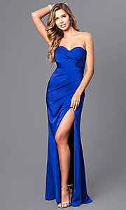 Image of strapless sweetheart long formal evening gown. Style: FA-7891 Detail Image 3