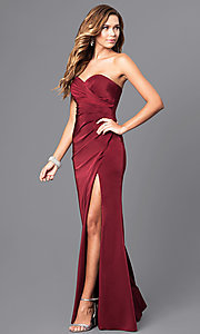 Image of strapless sweetheart long formal evening gown. Style: FA-7891 Detail Image 2