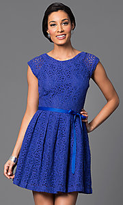 Image of short lace dress Style: AM-2131N254 Detail Image 2