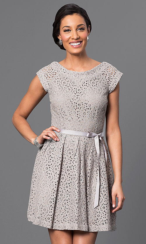 Image of short lace dress Style: AM-2131N254 Front Image
