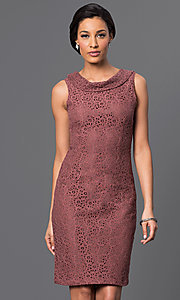 Image of knee-length cowl-neck sleeveless dress Style: AM-2135N254 Detail Image 1