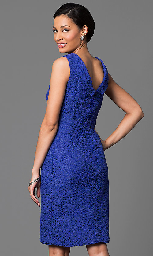 Image of knee-length cowl-neck sleeveless dress Style: AM-2135N254 Back Image