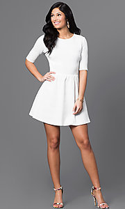 Image of short white dress with sleeves Style: BD-Q7WFG433 Detail Image 1