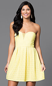 Image short strapless yellow lace dress by Bee Darlin. Style: BD-Q12JH423 Front Image